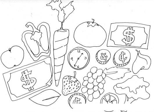 Mercadito De Verduras Para Pintar Y Colorear Dibujo De