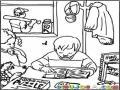 Colorear Nino Estudiando En Su Casa Para Pintar Y Colorear Muchacho Haciendo Deberes