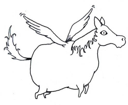 Dibujo De Caballo Gordo Con Alas Para Colorear Caballo Volador