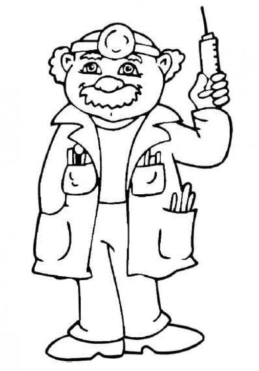 Colorear Doctor Con Una Jeringa Colorear Dibujos De Cholo