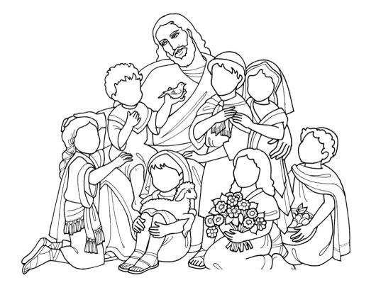 Cristo Ama A Los Ninos Dibujo De Jesus Con Los Ninos Para Pintar Y ...