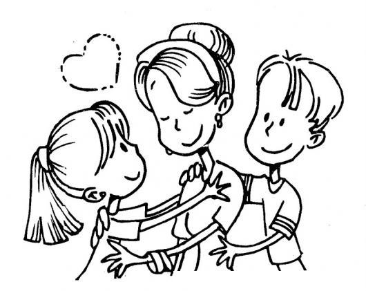 Mama Con Su Hija Y Su Hijo Para Pintar Y Colorear Muestra De Amor