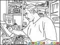 Dibujo De Un Dibujante Dibujando Sobre Una Comutadora Touch Para Pintar Y Colorear