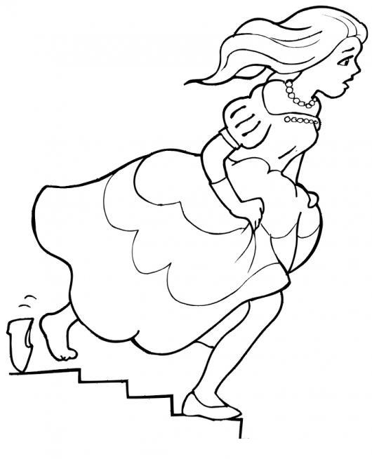 Dibujo De Cenicienta Bajando Las Gradas Y Perdiendo La Zapatilla