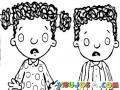Ninos Asustados Dibujo De 2 Hermanitos Colochos Para Pintar Y Colorear