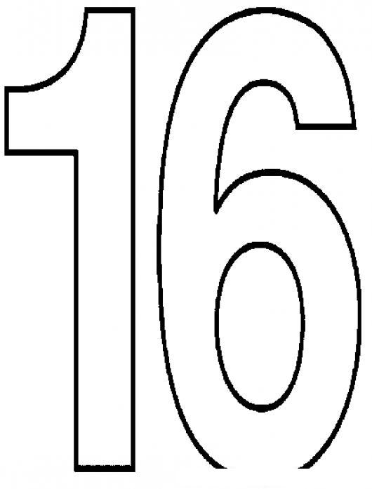 Dibujo Del Numero 16 Para Pintar Y Colorear Numero16 ...