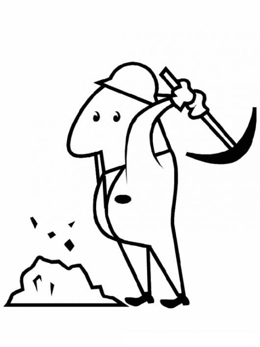 Minero Trabajando Dibujo De Minero Con Piocha Picando Piedra