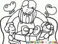 Regalo Para Papa Dibujo De Papi Con Sus Hijos Recibiendo Un Regalo Para Pintar Y Colorear