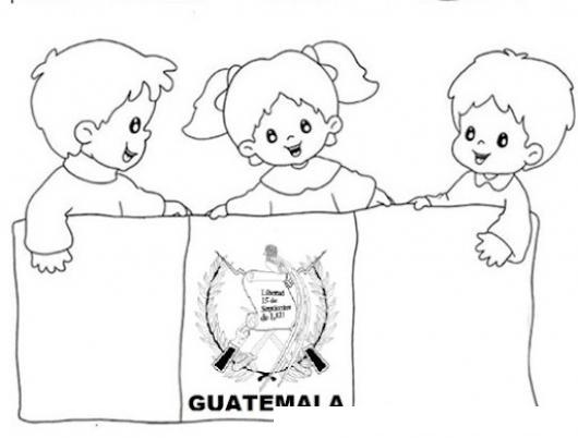 Ninos con bandera de guatemala para pintar y colorear - Pintar una banera ...