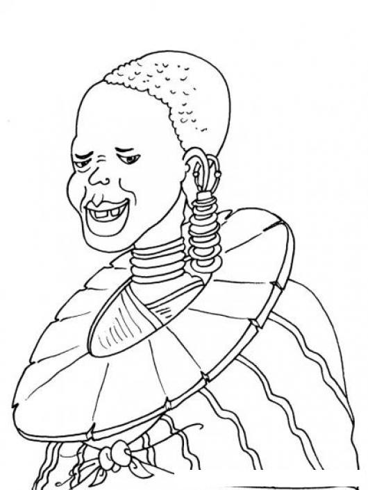 Dibujo De Una Mujer Africana Con Atuendo Africano Para Pintar Y ...