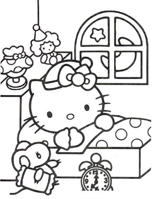 Cuarto de la hello kitty para pintar y colorear dibujo de for Cuarto para colorear