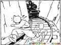 Tintin Corriendo Del Tren Para Pintar Y Colorear