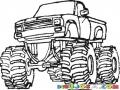 Monstertruck Dibujo De Un Picop Moustruoso De Monster Turck Con Llantas Gigantes Y Suspensiones Marca Rancho Para Pintar Y Colorear