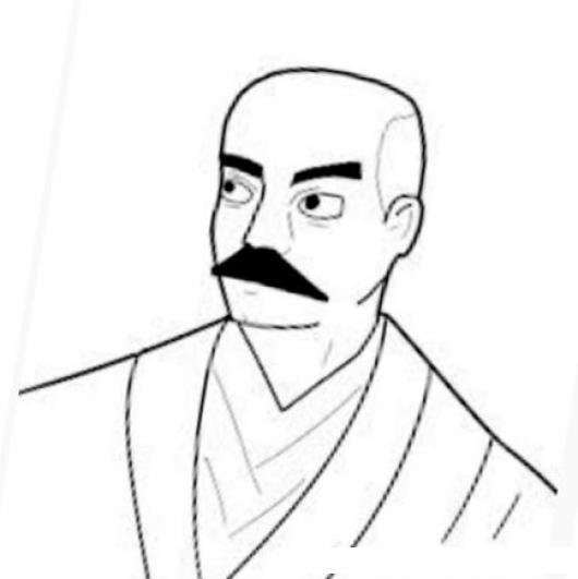 Profesor De Judo Dibujo De Un Maestro De Karate Y Jujitsu Con Bigote