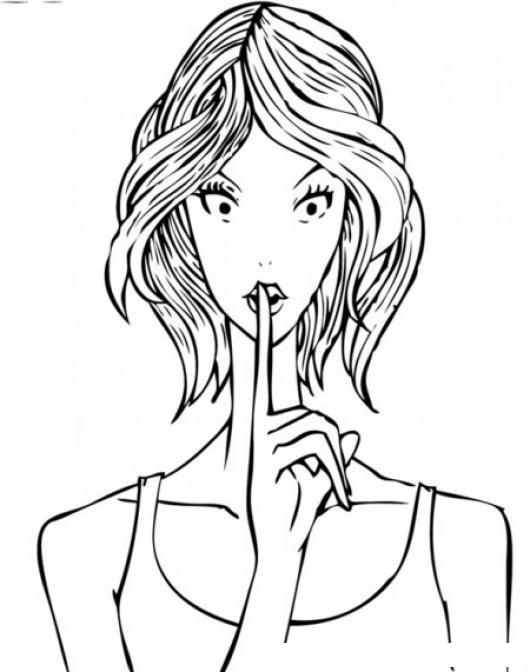 Cartel De Silencio Para Colorear Chica Pidiendo Silencio Y ...