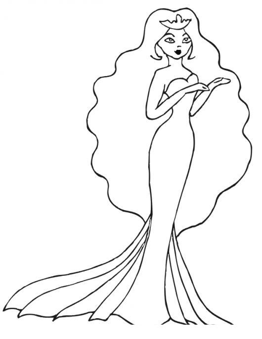 Princesa Con Vestido Cola De Pescado Para Pintar Y Colorear Dibujo
