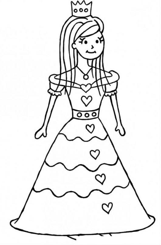 Princesita Con Vestido De Corazones Para Pintar Y Colorear