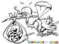 Cigunea Con Paracaidas Para Pintar Y Colorear Ciguena Paracaidista Con Un Bebe