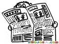 Dibujo De Hombre Leyendo La Prensa En Busca De Empleo Para Pintar Y Colorear