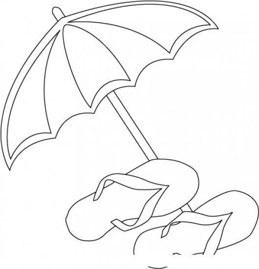 Implementos De Playa Dibujo De Sombrilla Y Sandalias Para