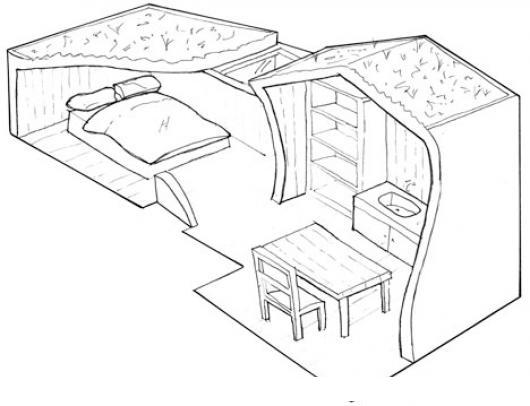 Apartamento de soltero para pintar y colorear dibujo de for Dormitorio para dibujar