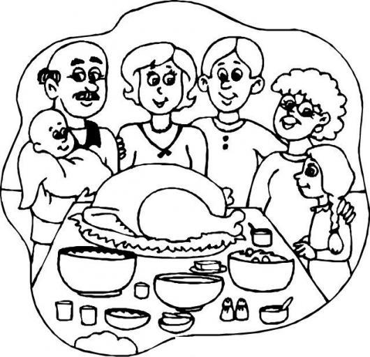 Cena De Accion De Gracias Dibujo De Una Familia Reunida Para
