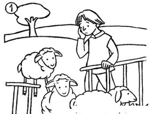 Dibujo De Un Pastor Contando Sus Ovejas Para Colorear  COLOREAR