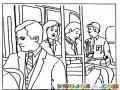 Dibujo De Personas Viajando En Bus Para Pintar Y Colorear