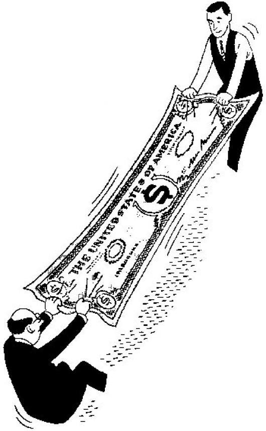 presupuesto estirado dibujo de socios estirando el