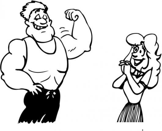 Dibujo De Hombre Musculoso Impresionando A Una Mujer Para Pintar Y ...