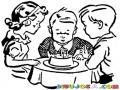 Dibujo De Ninos Cantando Happy Birthday Para Pintar Y Colorear Pastel De Cunpleanos
