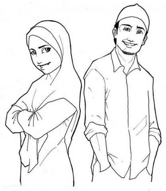 Dibujo De Una Pareja De Novios Arabes Para Pintar Y Colorear A Una