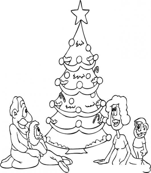 Familia En Navidad Dibujo De Una Familia Reunida Al Rededor Del