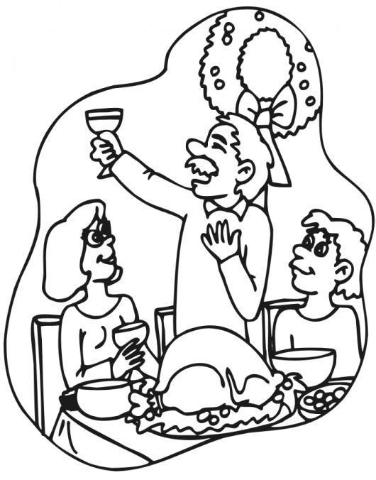 Dibujo De La Cena De Navidad Con Un Rico Pavo Horneado Y 12 Uvas