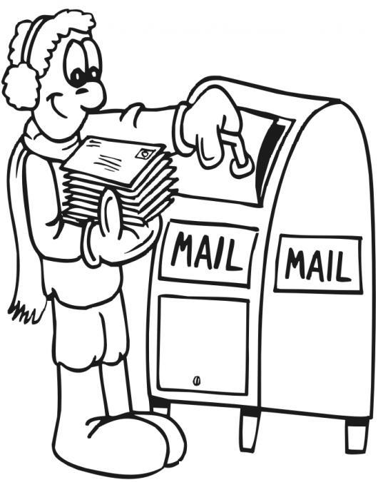 Correo postal dibujo de hombre depositando cartas en el for Oficina de correo postal