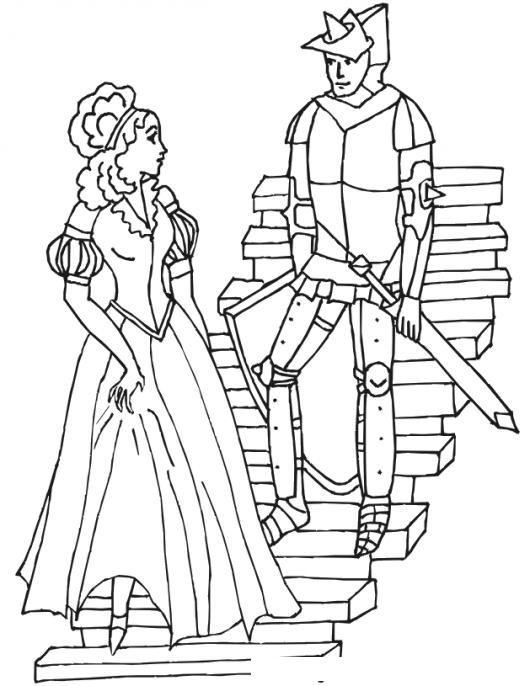 Dibujo De Una Princesa Y Su Caballero Para Pintar Y Colorear Amor