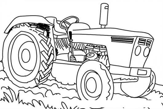 dibujo de un tractor de finca para pintar y colorear