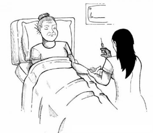 Hospitalizacion Dibujo De Una Enfermera Inyectando A Una Abuelita ...