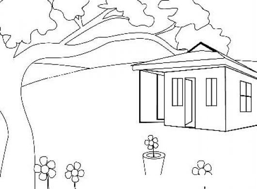 Dibujo De Una Casita De Campo Con Arbol Y Flores Para Pintar Y