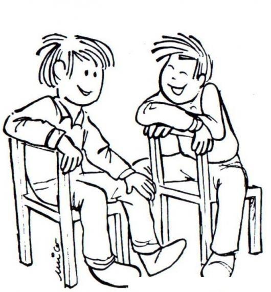 Dibujo De Dos Amigos Hablando Sentados En Dos Sillas De Madera ...