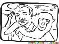 Hombre Con Mono Dibujo De Un Hombre Cargando A Un Mico En La Espalda Para Pintar Y Colorear Defensor De Simios Simeos Y Orangutanes