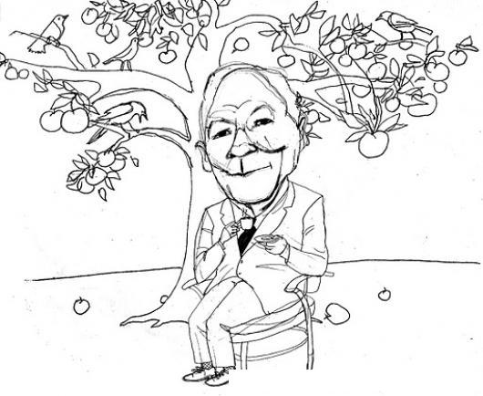 Dibujo De Abuelito Tomando Te Debajo De Un Arbol De Manzanas Para