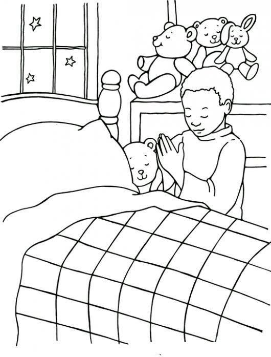 Salmo4:8 Dibujo De Un Nino Negrito Orando Antes De Acostarse Para ...