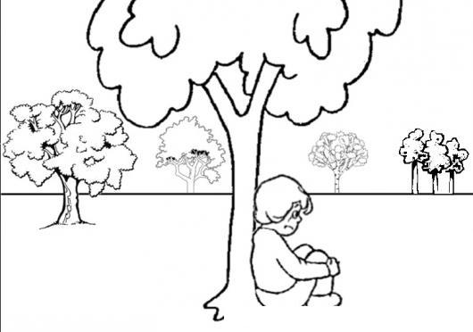 Dibujo De Nino Triste Sentado Debajo De Un Arbol Para Pintar Y ...
