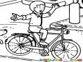 Dibujo De Nino Manejando Una Bicicleta Sin Las Manos Para Pintar Y Colorear