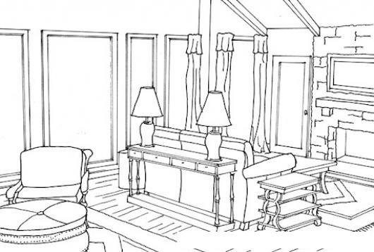 Dibujo de sala con dos lamparas en una casa de madera para - Lamparas de madera para pintar ...