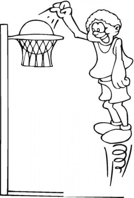 Dibujo De Basketbolista Con Resorte En Los Pies Para Pintar Y ...