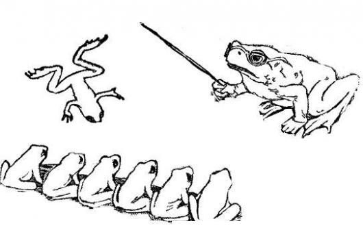 escueladeranas dibujo de una escuela de ranas para pintar y colorear rana llegando tarde a clases