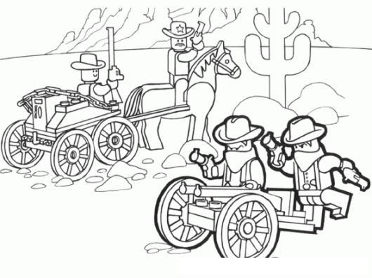 Legocity Dibujo De Lego Del Oeste Para Pintar Y Colorear Vaqueros