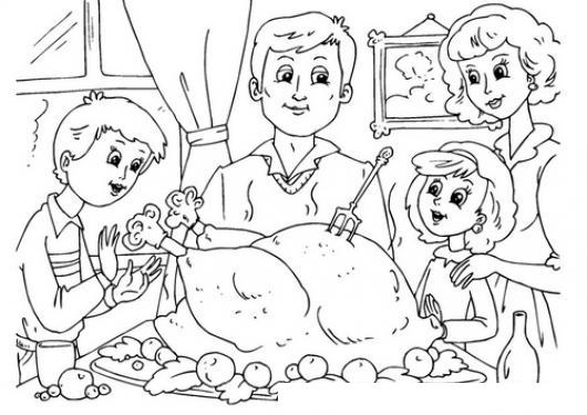 Diadeacciondegracias Dibujo Del Thanksgivingday Para Pintar Y